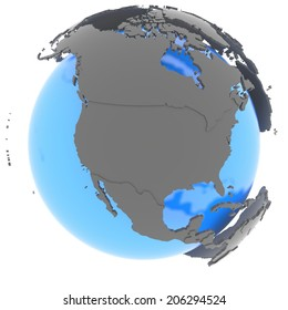 North America standing out of blue planet in grey, isolated on white background