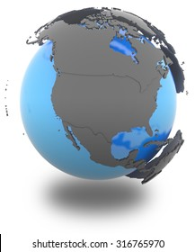 North America  standing out of blue Earth in grey, isolated on white background