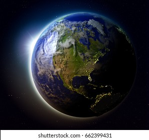 North America with sun setting below the horizon of planet Earth in space. 3D illustration with detailed planet surface. Elements of this image furnished by NASA.