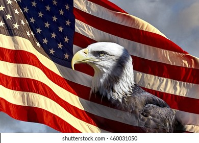 North American Bald Eagle on the American Flag