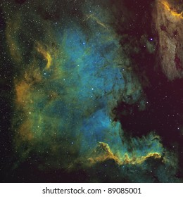 North American and Pelican Nebulae Processed in the Hubble Palette