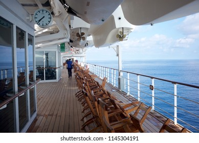 NORTH ATLANTIC OCEAN, INTERNATIONAL WATERS - JULY 14, 2018: the Queen Mary 2, one of the three liners serviced by the Cunard, is mostly dedicated to transatlantic cruises.