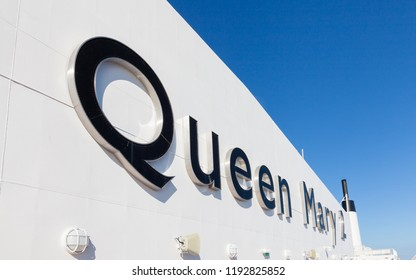NORTH ATLANTIC OCEAN - OCTOBER 19:  The name Queen Mary 2 adorns Cunard cruise liner as it sails across the North Atlantic Ocean on October 19th, 2017.  The liner is the flagship of the Cunard fleet.