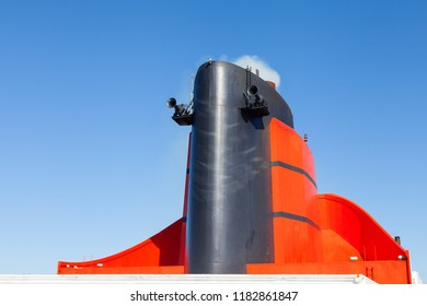 NORTH ATLANTIC - OCTOBER 18:  The funnel of the Cunard cruise liner Queen Mary 2 is pictured in the North Atlantic Ocean on October 18, 2017.  Cunard Line is part of the Carnival Corporation.