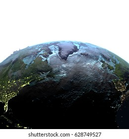 North Atlantic on Earth with detailed planet surface and visible city lights. 3D illustration with white background. Elements of this image furnished by NASA.