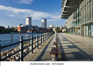 North bank of the River Wear in Sunderland, looking toward the town centre.