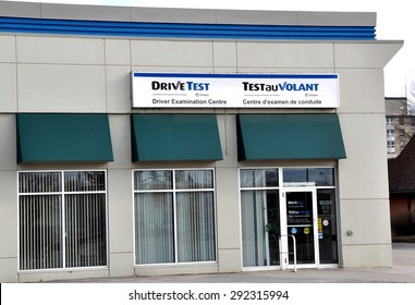 North Bay, Ontario, Canada - June 30, 2015: Sign of Drive Test  center in front of the building.