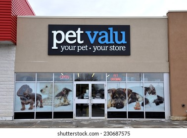 North Bay, Ontario, Canada - November 11, 2014: Sign of Pet Valu company in front of their North Bay store.