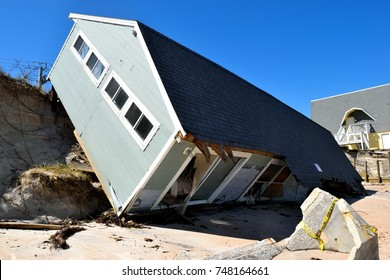 NORTH BEACH, FLORIDA, USA - OCTOBER 06, 2017: Aftermath of beach home damage caused by hurricane Irma hitting along the east coast of Florida on September 11, 2017.