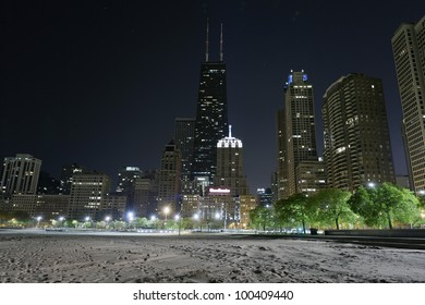 North Beach at night in Chicago