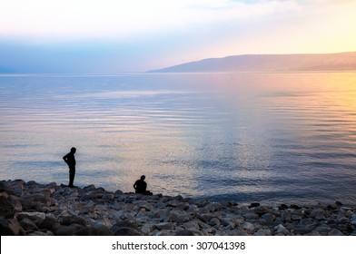 North Beach, the Sea of Galilee at sunset.