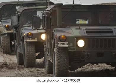 NORTH BEACH,NJ-NOVEMBER 2: The NJ National Guard arrives to  lead a damage assessment team to tour the devastation left by Hurricane Sandy on the oceanfront of Long Beach Island. Nov 2 2012, Long Beach Island, NJ