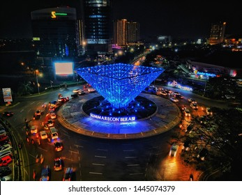 NORTH BEKASI, WEST JAVA - July 6, 2019 : Inverted Pyramid, Landmark of Summarecon Bekasi which is very famouse for night life and food