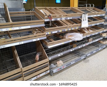 North Berwick, East Lothian, April 2 2020: shops shelves empty as Coronavirus hits hard and panic buyers have bought all the bread and groceries. Covid-19