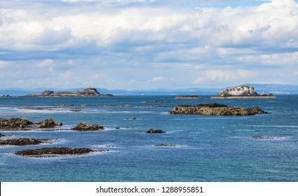 North Berwick , East Lothian, on the south shore of the Firth of Forth, Scotland. Summer vacation in the UK - Sea view of the town. Copy space.