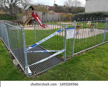 North Berwick, Scotland, March 30 2020, Playpark closed due to coronavirus as children are kept indoors and government have country on lockdown in the UK