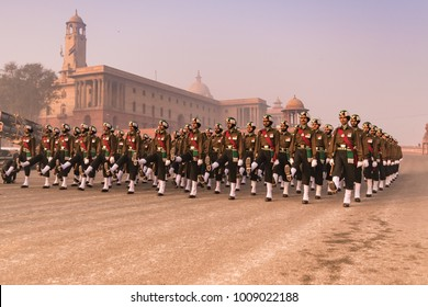 North Block, New Delhi, India, January-2018: Soldiers of Indian Army marching at Rajpath 'King's Way' a ceremonial boulevard as they take part in rehearsal activities for the Republic day parade.