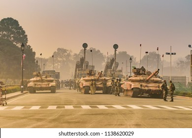 North Block, New Delhi, India, January-2018:  Indian Army tanks standing at Rajpath 'King's Way' a ceremonial boulevard as they take part in rehearsal activities for the Republic day parade.