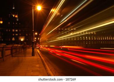 North Bridge In Edinburgh, Scotland. Slow exposure of traffic at night