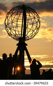 north cape globe midnight sunset, nordkapp, norway