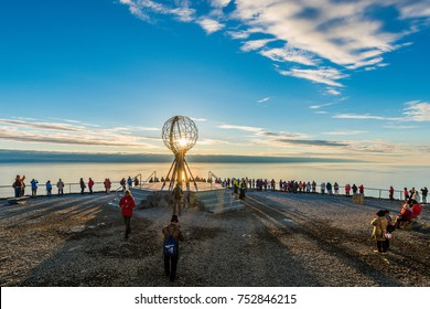 NORTH CAPE, NORWAY - JUNE 30, 2014: People visiting North Cape (Nordkapp), on the northern coast of the island of Mageroya in Finnmark, Northern Norway.