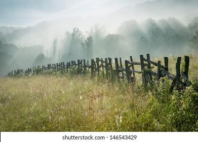 North Carolina Blue Ridge Parkway Fence Morning Sun Rays