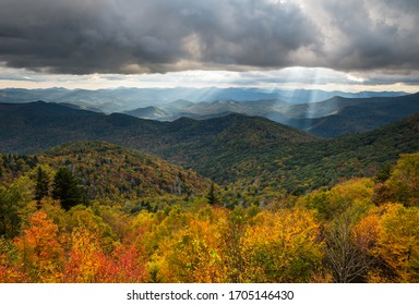 North Carolina Blue Ridge Parkway autumn scenic landscape photography from an overlook of the southern Appalachian Mountains. The mountain landscape features fall foliage on the parkway near Asheville - Shutterstock ID 1705146430