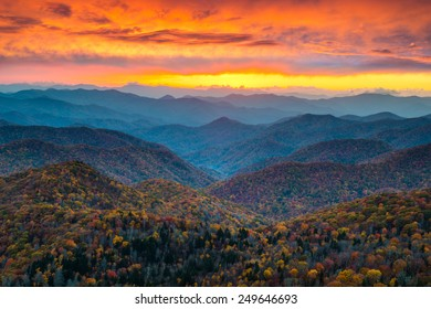 North Carolina Blue Ridge Parkway Mountains Sunset Scenic Landscape near Asheville, NC during the autumn fall foliage