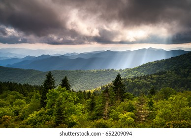 North Carolina Blue Ridge Parkway Scenic Landscape Photography Asheville NC Mountains in Southern Appalachian range with summer thunderstorms and light rays