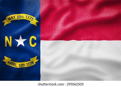North Carolina Flag painted on leather texture,vintage style