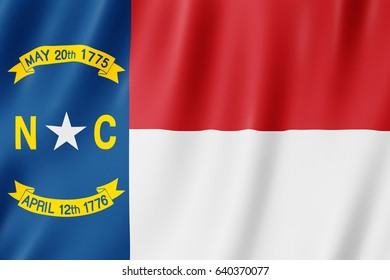 North Carolina Flag, US state. 3D illustration of the North Carolina flag waving.