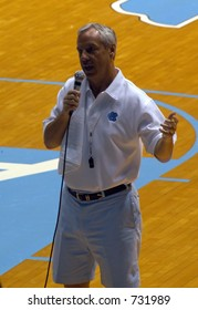 North Carolina head men's basketball coach Roy Williams addresses a crowd. Williams won the 2004 NCAA Basketball crown