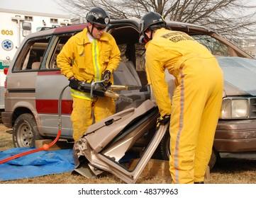 Highway Crash Wreck Truck Rescue Workers Stock Photo (Edit