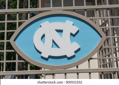 NORTH CAROLINA, MAY 4th 2015: A logo plate of University of North Carolina football team at the foot ball stadium. CHAPEL HILL, NC