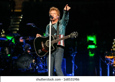 """North Carolina - November 6, 2013 - Bon Jovi performs live in concert as part of their """"Because We Can"""" 2013 World Tour."""