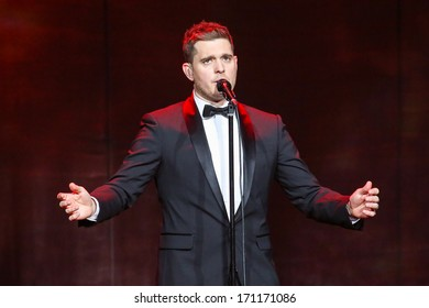 NORTH CAROLINA - OCTOBER 25, 2013:  Michael Buble performs as part of his 2013-2014 world tour.