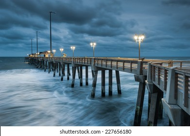 North Carolina Outer Banks OBX Fishing Pier Stormy Atlantic Ocean Morning in Nags Head