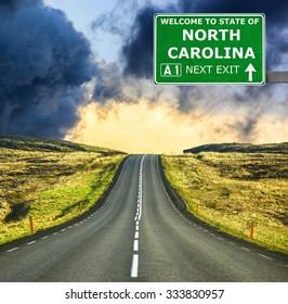 NORTH CAROLINA road sign against clear blue sky