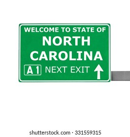 NORTH CAROLINA road sign isolated on white