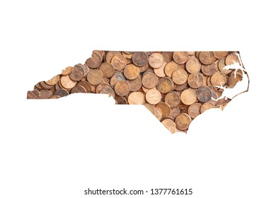 North Carolina State Map and Money Concept, Piles of Coins, Pennies