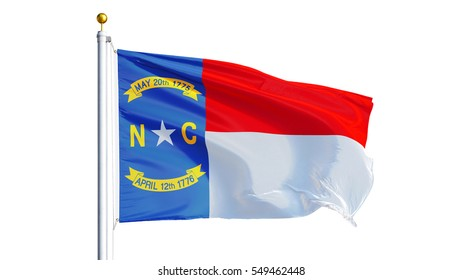 North Carolina (U.S. state) flag waving on white background, close up, isolated with clipping path mask alpha channel transparency, perfect for film, news, composition