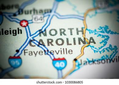 North Carolina. USA on a map.