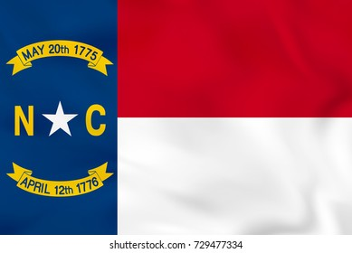 North Carolina waving flag. North Carolina state flag background texture. Raster copy.