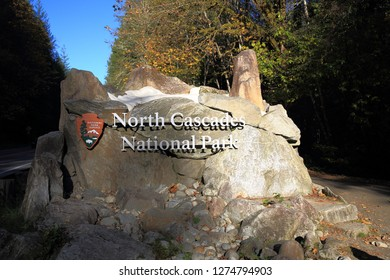 North Cascades N.P, WA, USA - October 13, 2018: The North Cascades National Park Entrance Sign is located near to Newhalem on the North cascades highway(Hwy 20) in Washington State.