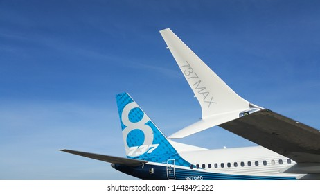 North Charleston, SC / USA - Dec 16 2016: Boeing 737 Max test vehicle visit North Charleston SC