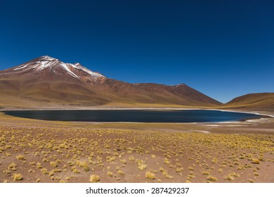 North of Chile in the Antofagasta Region, lays a heart-shaped lake containing a deep blue color due by its a brackish waters.