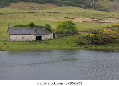 North Coast, Scotland - June 6, 2012: Hilly green country side along the Naver River in the Northern highlands. Gray half-ruinous barn stands on the shore. Some yellow broom flowers.