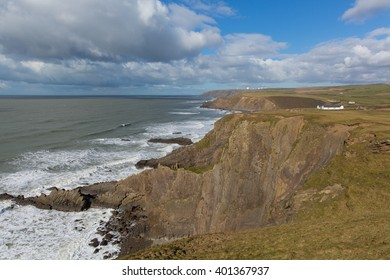 North Cornwall coast view near Bude from Crooklets towards Northcott Mouth from south west coast path England UK