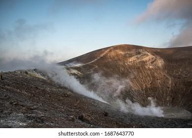 North crater active volcano in Vulcano island Italy