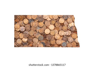 North Dakota State Map and Money Concept, Piles of Coins, Pennies